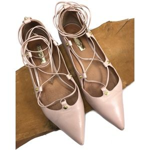 Halogen Blush Pointy Owen Ghillie Lace Up Flats 9
